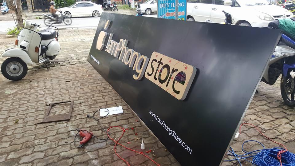 thi công bảng hệu ALu shop laptop Đà Nẵng
